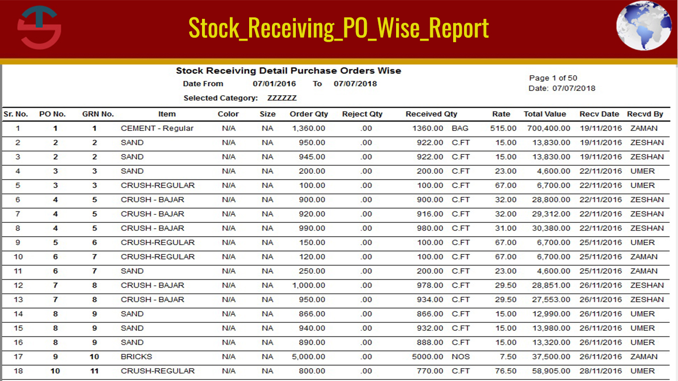 Stock Receiving